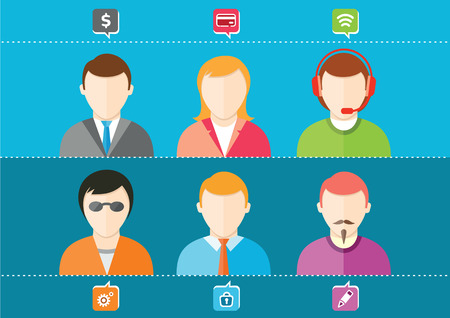 Business set of stylish avatars of woman girls and man guys in flat design style. Social networks business private users avatar pictograms Vector