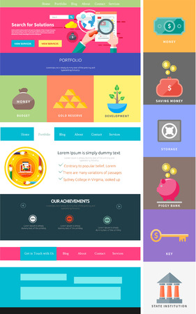 Website page template. Web design. Set of web page with icons for different websites in flat style. One page website flat ui and ux kit elements icons. Money concept Vector