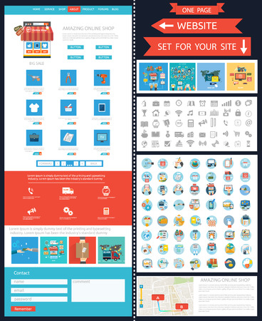 Internet shopping concept smartphone with awning buying products via online shop store e-commerce ideas e-commerce symbols sale elements on website page template. Set of web page with icons Vector