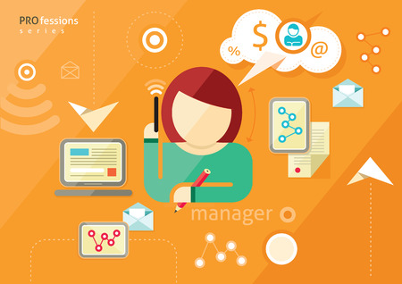 Manager profession. Woman manager talking on phone and writes. Workplace office desk. Business woman working with documents. Flat design illustration Illustration