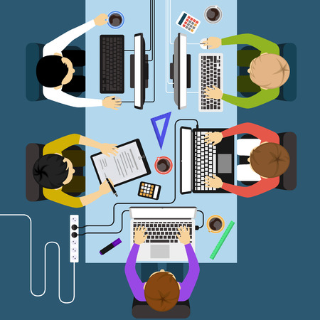 computers office: Office workers business management meeting and brainstorming on square table in top view flat design cartoon style Illustration