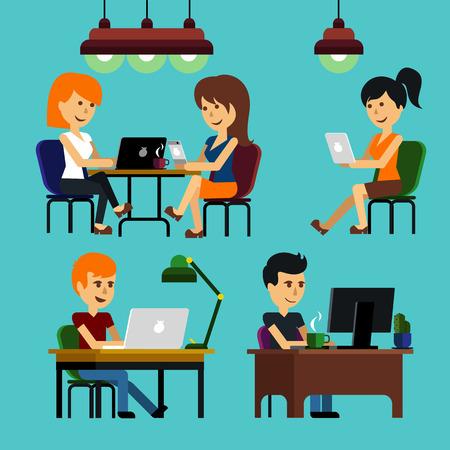 computadora caricatura: Gente chica chico hombre mujer sentada en silla en la mesa delante de monitor de ordenador port�til y brillante caricatura l�mpara estilo dise�o plano
