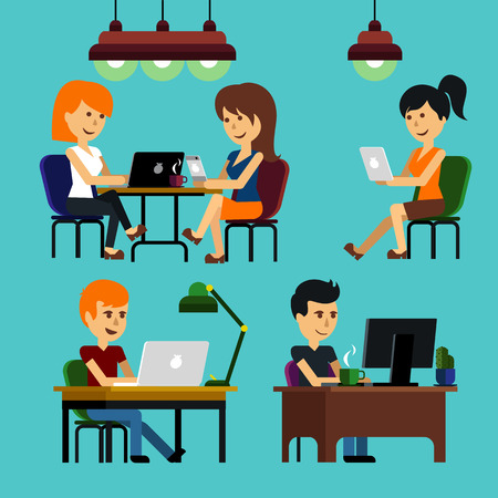 designer chair: People man woman guy girl sitting on chair at table in front of computer laptop monitor and shining lamp cartoon flat design style