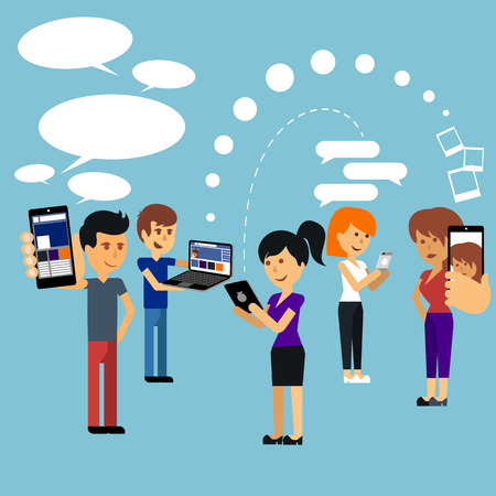 Jongeren man en vrouw met behulp van technologie gadget Stockfoto - 32381717
