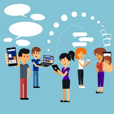 Junge Menschen Mann und Frau mit Technologie Gadget