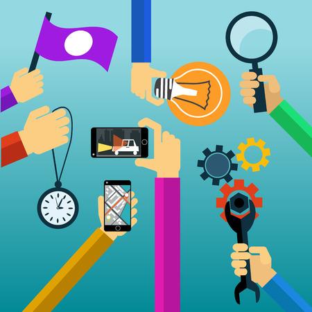 watch glass: Idea concept lightbulb magnifying glass watch smartphone flat design cartoon style Illustration