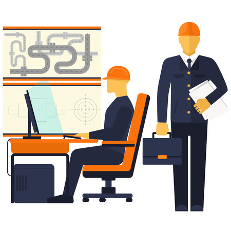 Factory production process of manufacture design production assembly control delivery service call. Engineer sitting on chair at table in front of computer monitor and shining screen cartoon flat design style Vector