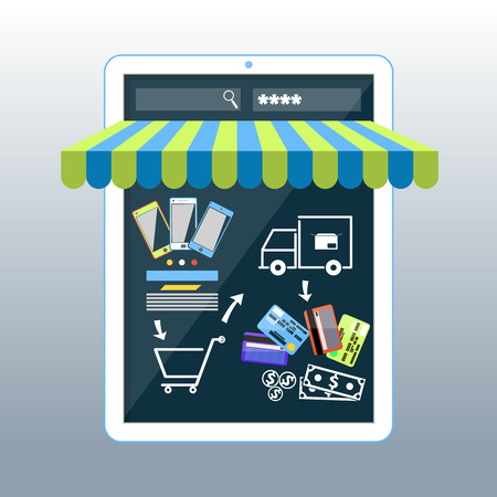Internet shopping concept smartphone with awning of buying products via on line shop store e-commerce ideas Vector