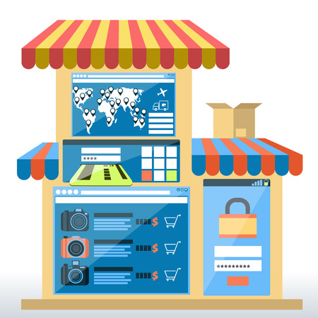 carport: Internet shopping concept smartphone with awning of buying products via on line shop store e-commerce ideas  Illustration