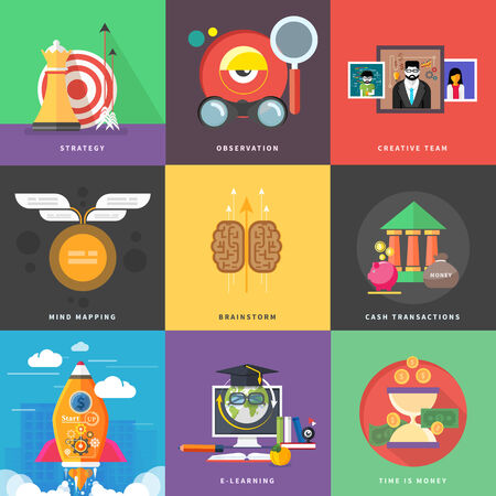 Concept of different icons in flat design Vector