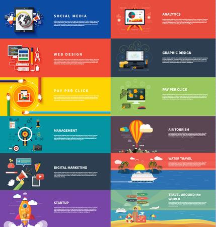 Management digital marketing srartup planning analytics design pay per click seo social media traveling tourism and development launch.  Illustration
