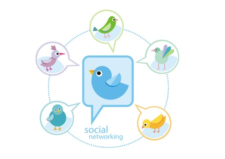 Social media communication network concept. Set of different birds in bubble cartoon design style Vector