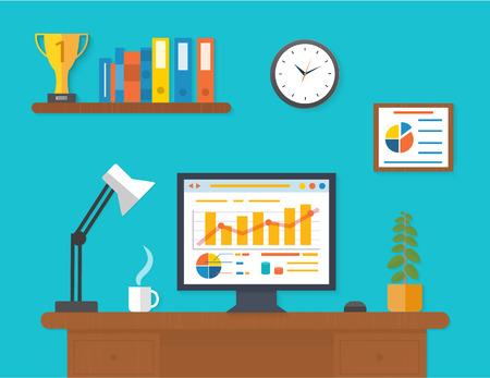 Modern office interior with seo desktop in flat design.
