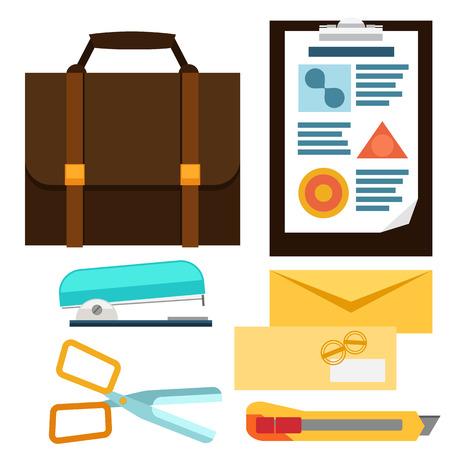 Business office icons set envelope stapler knife clipboard briefcase flat design style Vector