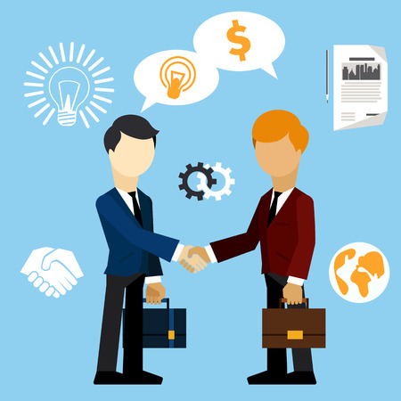 Happy business man make handshake sharing exchange case studies in which idea of ??invention and money cartoon flat design style Vector