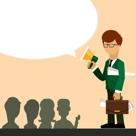 investor: Businessman investor speaks in megaphone and holding case and sheets with project flat design style