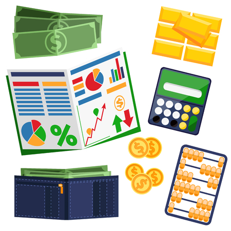 billfold: Dollar bills, leather wallet, notebook, calculator, gold and notebook with graph. Business concept tools flat design style