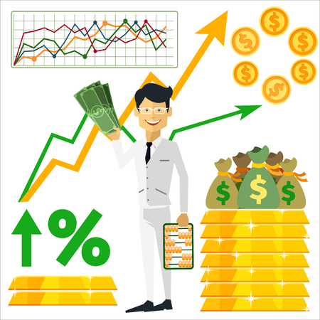 Happy man trader holding dollars in hand and near him on background gold bars and graph arrow indicators up flat design style Vector