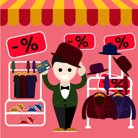 Happy young man chooses a perfect clothes and a hat in the store on sale and holding a card flat design style Vector