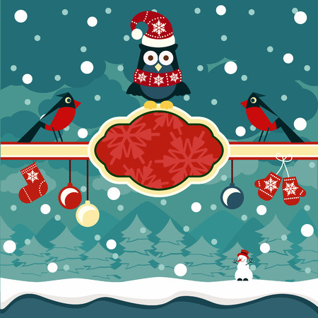holiday card: Christmas horizontal banners background with owl on place for text and snowman in winter forest cartoon design style