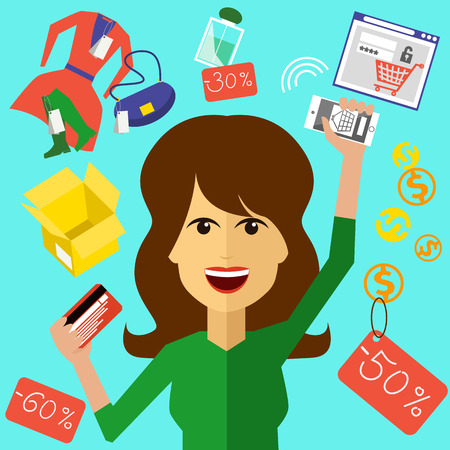 woman smartphone: Happy woman with a card and phone in hands of store. Online shopping icons store elements fashion purchases bag tag shoes gift lable smartphone with discount flat design cartoon style