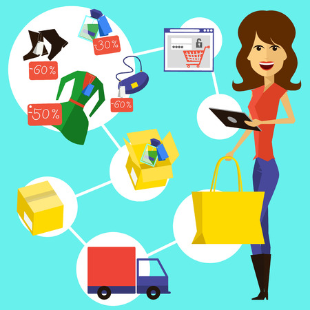 woman smartphone: Happy woman with a bag and phone in hands of store. Online shopping icons store elements fashion purchases bag tag shoes gift lable smartphone with discount flat design cartoon style