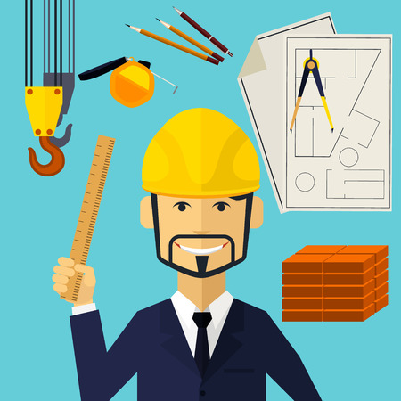 worker: Vertical portrait of a happy architect constructor worker at his work place with tools for drawing Illustration