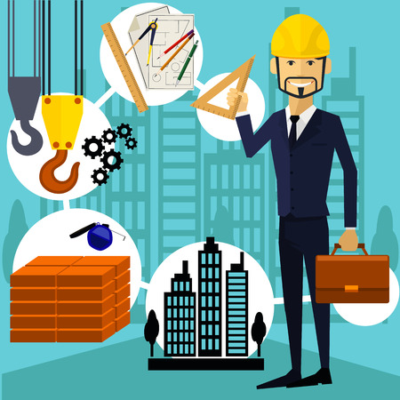 Vertical portrait of a happy architect constructor worker at his work place with tools for drawing Illustration