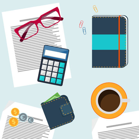 Office desktop with item icons. Concept of office work calculator, coffee, cup, glasses, purse Vector
