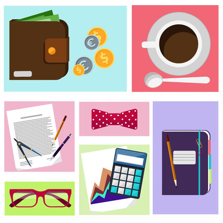 office desktop: Office desktop with item icons. Concept of office work calculator, coffee, cup, glasses, purse