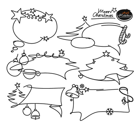 Doodle set Merry C hristmas elements. Bubble frames, boxes, cloud, christmas tree, flags, banners on sale. Isolated  black silhouette