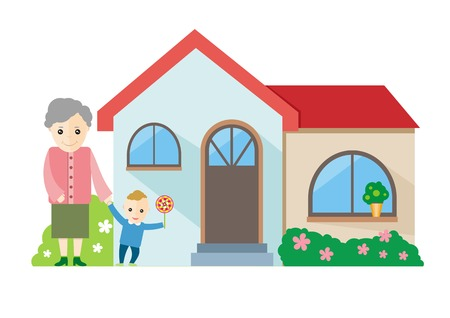 Happy grandmother playing with her grandchildren near house Vector