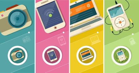 icono computadora: Conjunto de cámara del smartphone tablet PC reproductor de MP3 portátil de visualización realista y plantilla de teléfono móvil en estilo diseño plano. Diferentes aparatos personales modernos