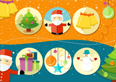 Christmas and New Year icons bell gloves balls tree and snowman on background in cartoon design style Vector