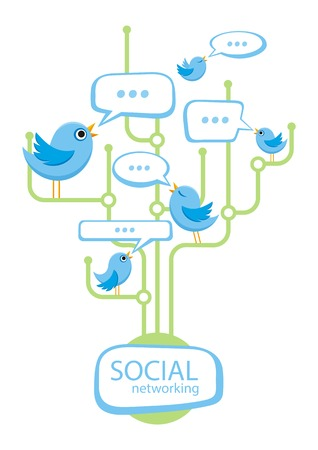 social networking: Social media communication network concept. Set of different birds in bubble cartoon design style