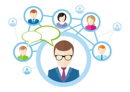 Social-Media-Netzwerk-Verbindung-Konzept. Menschen in einem sozialen Netzwerk. Konzept f�r soziale Netzwerk in flacher Bauform. Globus mit den Gesichtern der vielen verschiedenen Menschen Illustration