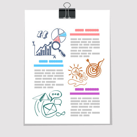 Infographics elements sketch on old sheet of paper Vector