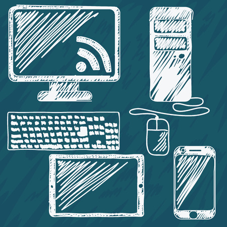 Digital devices hand drawn