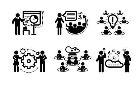 staff meeting: Business presentation teamwork concept icons Illustration
