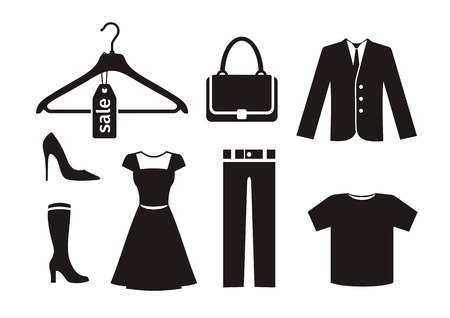 shirts on hangers: Clothes icon set in black Illustration