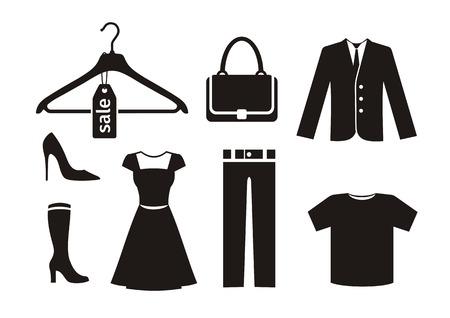 etiquetas de ropa: Ropa icono ubicado en negro