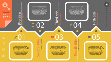 Timeline infographic with diagram and text Illustration