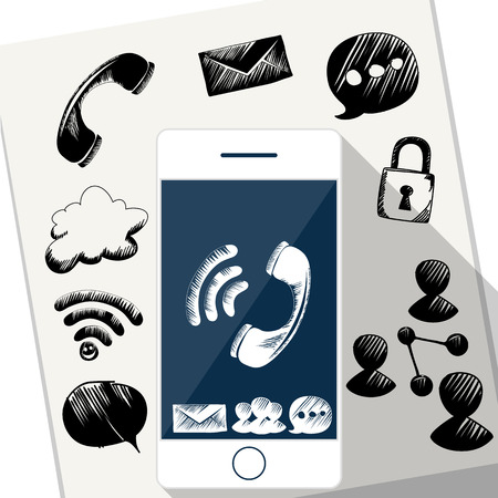 Smart Phone Mobile with doodle sketch of bubble sms message social media link icons on sheet of paper Vector