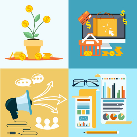 business communication: Icons for seo, social media, online shopping, business idea, business tools, money tree with coins flat design style