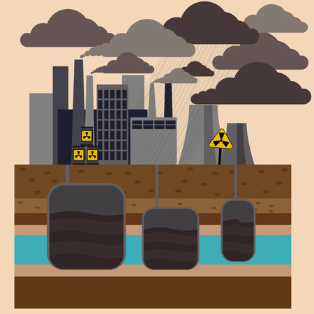 emitting: Power plant smokestacks emitting smoke over urban cityscape in cartoon style. Smokestack in factory with black yellow sky and clouds Illustration
