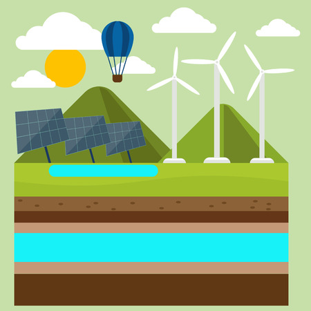 power generation: Renewable energy like hydro, solar, geothermal and wind power generation facilities cartoon style