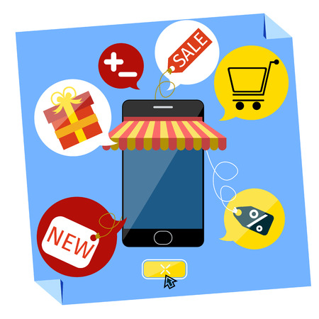 Internet shopping concept smartphone with awning of buying products via on line shop store e-commerce ideas e-commerce symbols sale elements on stylish background Vector
