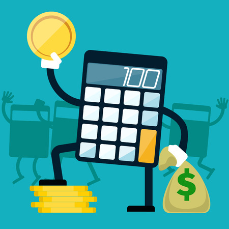 calculator money: Calculator holding golden coin and money bag in hands on blue background flat design Illustration
