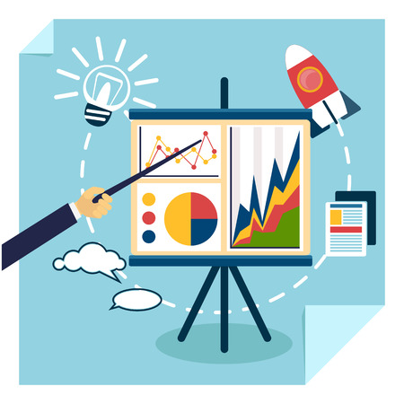 intentions: Flat design of presentation business development concept from good idea to successful startup. Hand with pointer points to tripod with chart graph