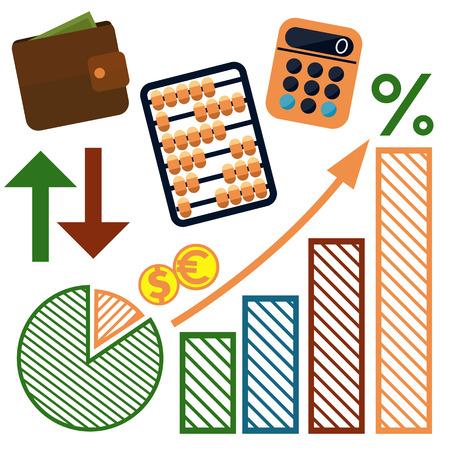 Set of money, finance, banking icons cartoon design style Vector